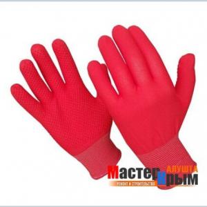 Перчатки нейлоновые рифленые красные
